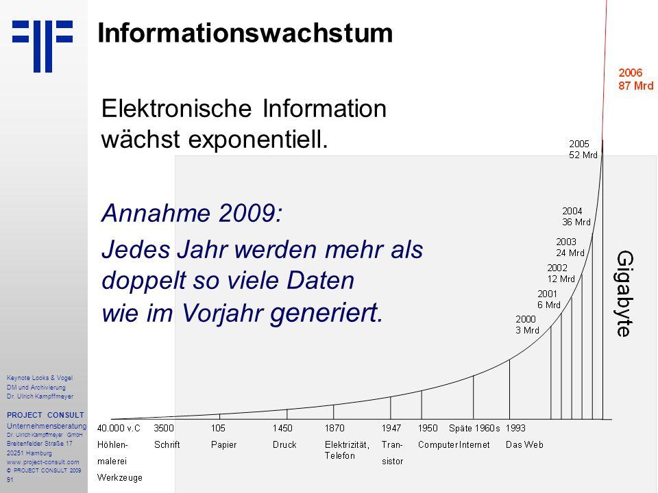 91 Informationswachstum Elektronische Information wächst exponentiell. Annahme 2009: Jedes Jahr werden mehr als doppelt so viele Daten wie im Vorjahr