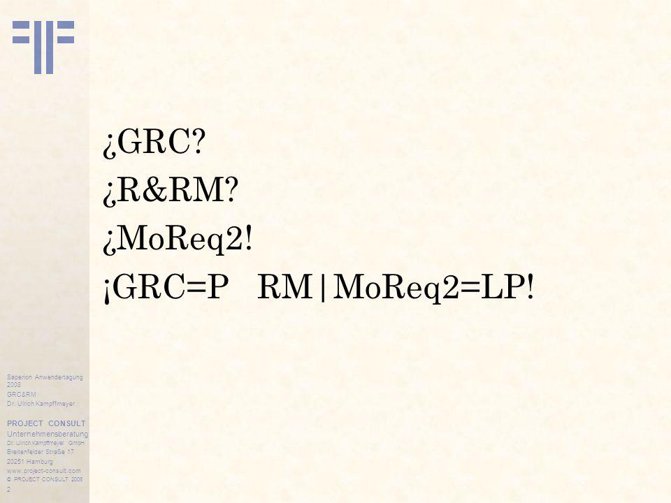 2 Saperion Anwendertagung 2008 GRC&RM Dr.