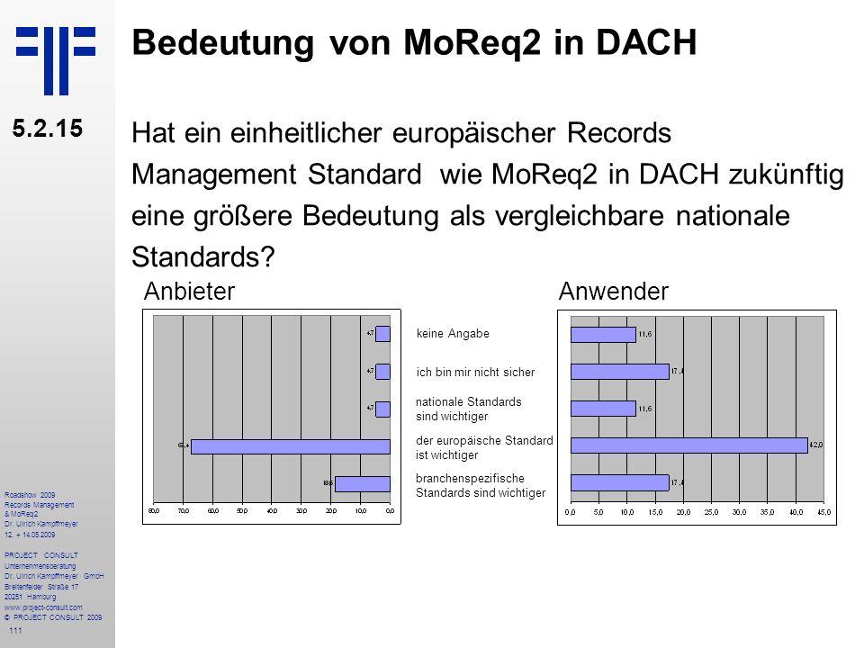 111 Roadshow 2009 Records Management & MoReq2 Dr. Ulrich Kampffmeyer 12. + 14.05.2009 PROJECT CONSULT Unternehmensberatung Dr. Ulrich Kampffmeyer GmbH