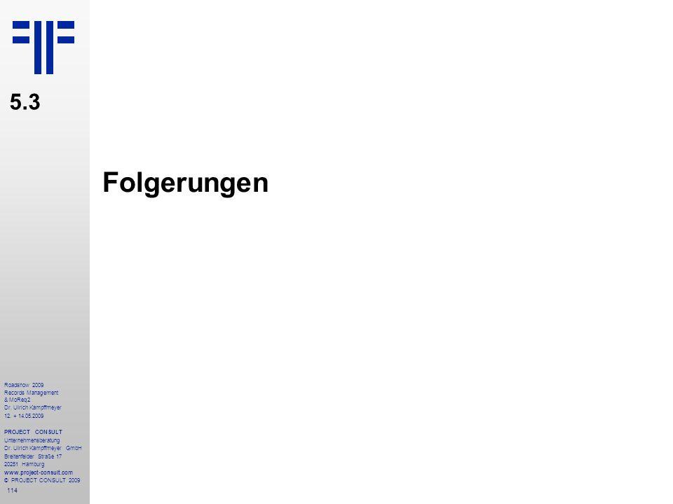 114 Roadshow 2009 Records Management & MoReq2 Dr. Ulrich Kampffmeyer 12. + 14.05.2009 PROJECT CONSULT Unternehmensberatung Dr. Ulrich Kampffmeyer GmbH