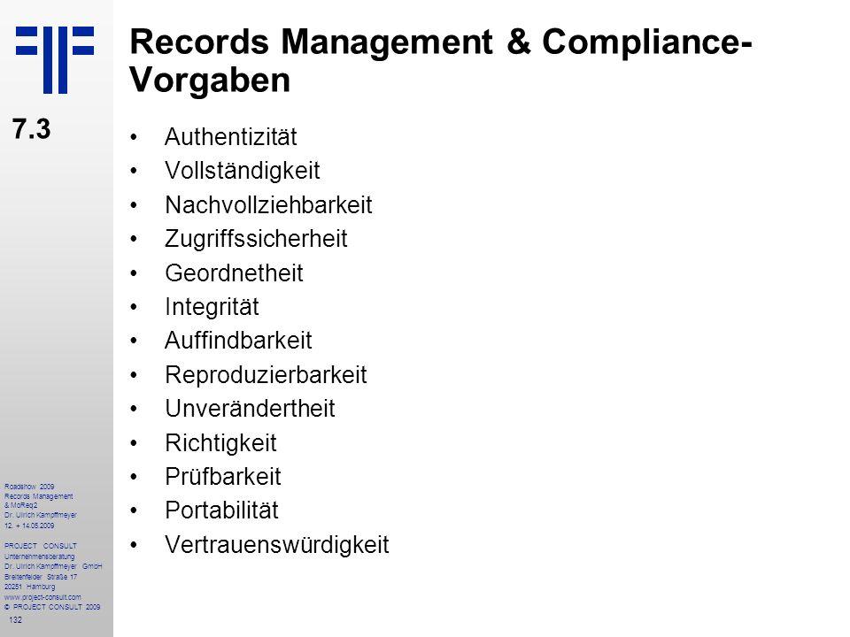 132 Roadshow 2009 Records Management & MoReq2 Dr. Ulrich Kampffmeyer 12. + 14.05.2009 PROJECT CONSULT Unternehmensberatung Dr. Ulrich Kampffmeyer GmbH