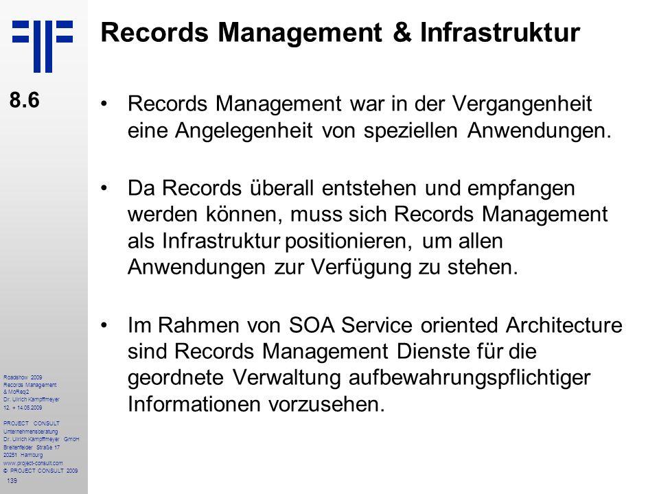 139 Roadshow 2009 Records Management & MoReq2 Dr. Ulrich Kampffmeyer 12. + 14.05.2009 PROJECT CONSULT Unternehmensberatung Dr. Ulrich Kampffmeyer GmbH