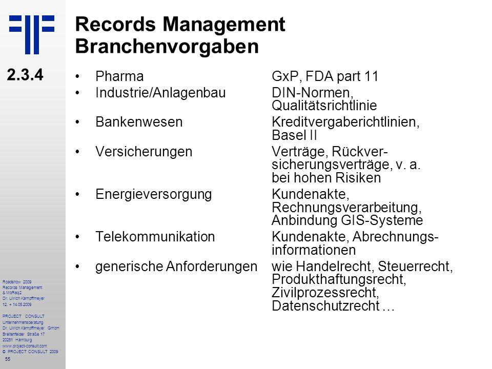 55 Roadshow 2009 Records Management & MoReq2 Dr. Ulrich Kampffmeyer 12. + 14.05.2009 PROJECT CONSULT Unternehmensberatung Dr. Ulrich Kampffmeyer GmbH