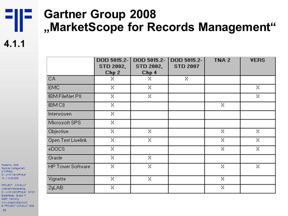 65 Roadshow 2009 Records Management & MoReq2 Dr. Ulrich Kampffmeyer 12. + 14.05.2009 PROJECT CONSULT Unternehmensberatung Dr. Ulrich Kampffmeyer GmbH