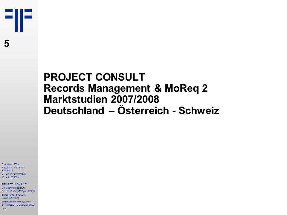 72 Roadshow 2009 Records Management & MoReq2 Dr. Ulrich Kampffmeyer 12. + 14.05.2009 PROJECT CONSULT Unternehmensberatung Dr. Ulrich Kampffmeyer GmbH