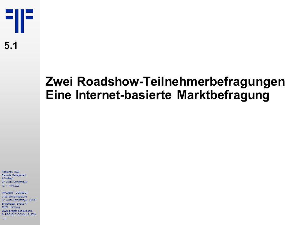 73 Roadshow 2009 Records Management & MoReq2 Dr. Ulrich Kampffmeyer 12. + 14.05.2009 PROJECT CONSULT Unternehmensberatung Dr. Ulrich Kampffmeyer GmbH