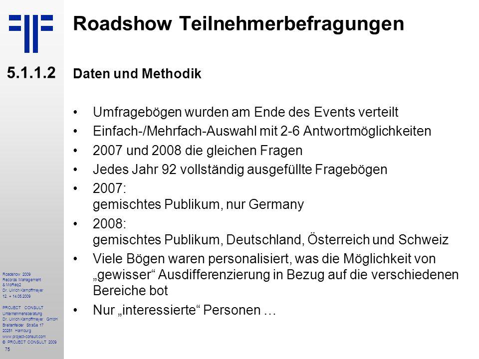 75 Roadshow 2009 Records Management & MoReq2 Dr. Ulrich Kampffmeyer 12. + 14.05.2009 PROJECT CONSULT Unternehmensberatung Dr. Ulrich Kampffmeyer GmbH
