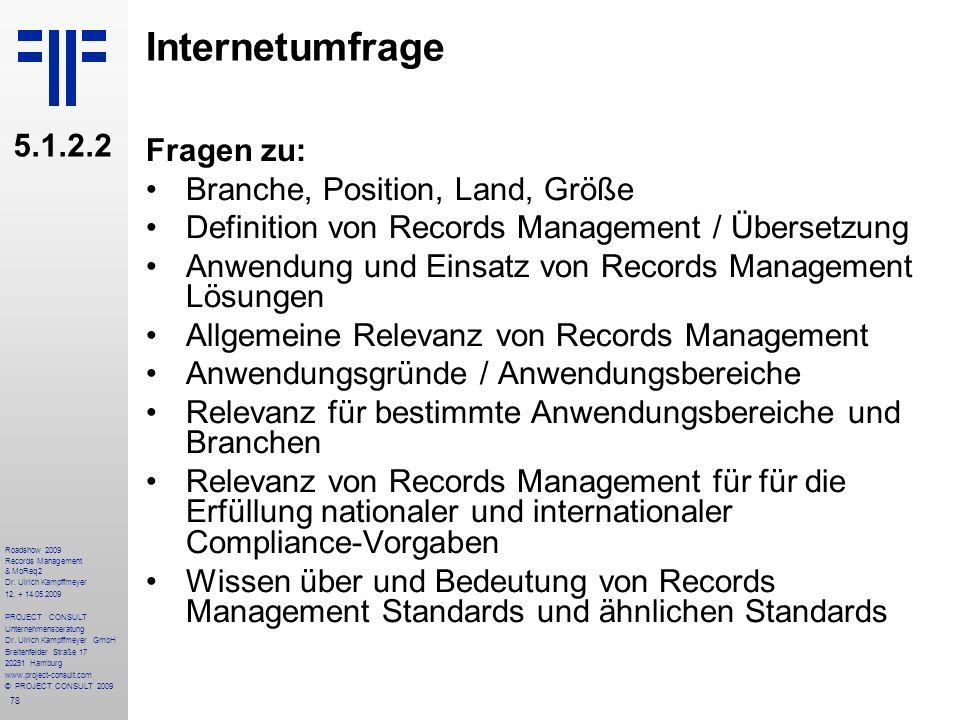 78 Roadshow 2009 Records Management & MoReq2 Dr. Ulrich Kampffmeyer 12. + 14.05.2009 PROJECT CONSULT Unternehmensberatung Dr. Ulrich Kampffmeyer GmbH