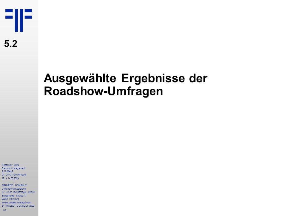 80 Roadshow 2009 Records Management & MoReq2 Dr. Ulrich Kampffmeyer 12. + 14.05.2009 PROJECT CONSULT Unternehmensberatung Dr. Ulrich Kampffmeyer GmbH