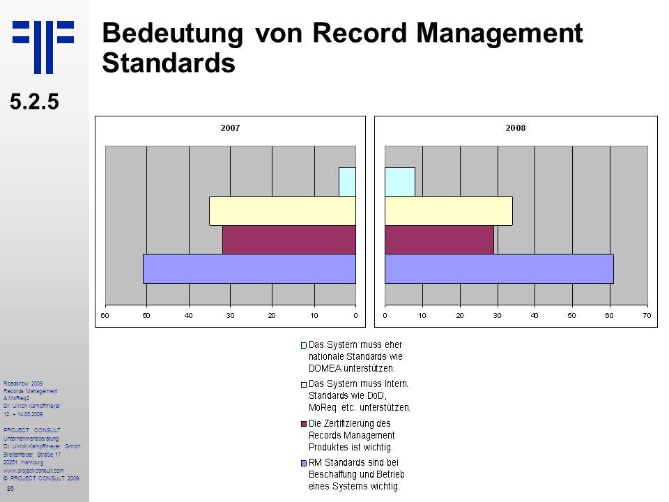 86 Roadshow 2009 Records Management & MoReq2 Dr. Ulrich Kampffmeyer 12. + 14.05.2009 PROJECT CONSULT Unternehmensberatung Dr. Ulrich Kampffmeyer GmbH