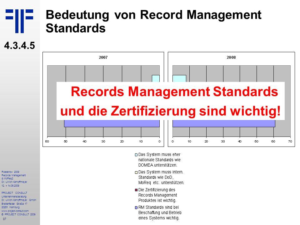 87 Roadshow 2009 Records Management & MoReq2 Dr. Ulrich Kampffmeyer 12. + 14.05.2009 PROJECT CONSULT Unternehmensberatung Dr. Ulrich Kampffmeyer GmbH