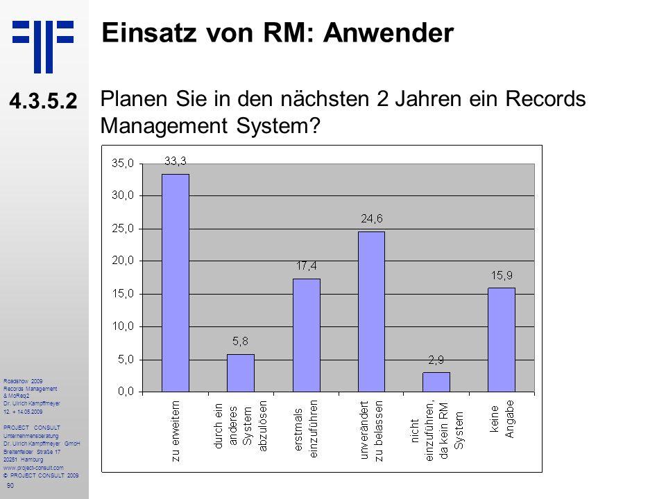 90 Roadshow 2009 Records Management & MoReq2 Dr. Ulrich Kampffmeyer 12. + 14.05.2009 PROJECT CONSULT Unternehmensberatung Dr. Ulrich Kampffmeyer GmbH