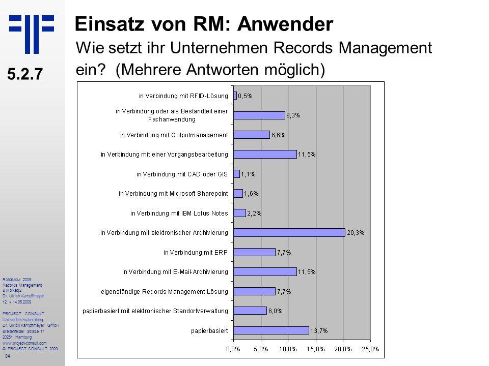 94 Roadshow 2009 Records Management & MoReq2 Dr. Ulrich Kampffmeyer 12. + 14.05.2009 PROJECT CONSULT Unternehmensberatung Dr. Ulrich Kampffmeyer GmbH
