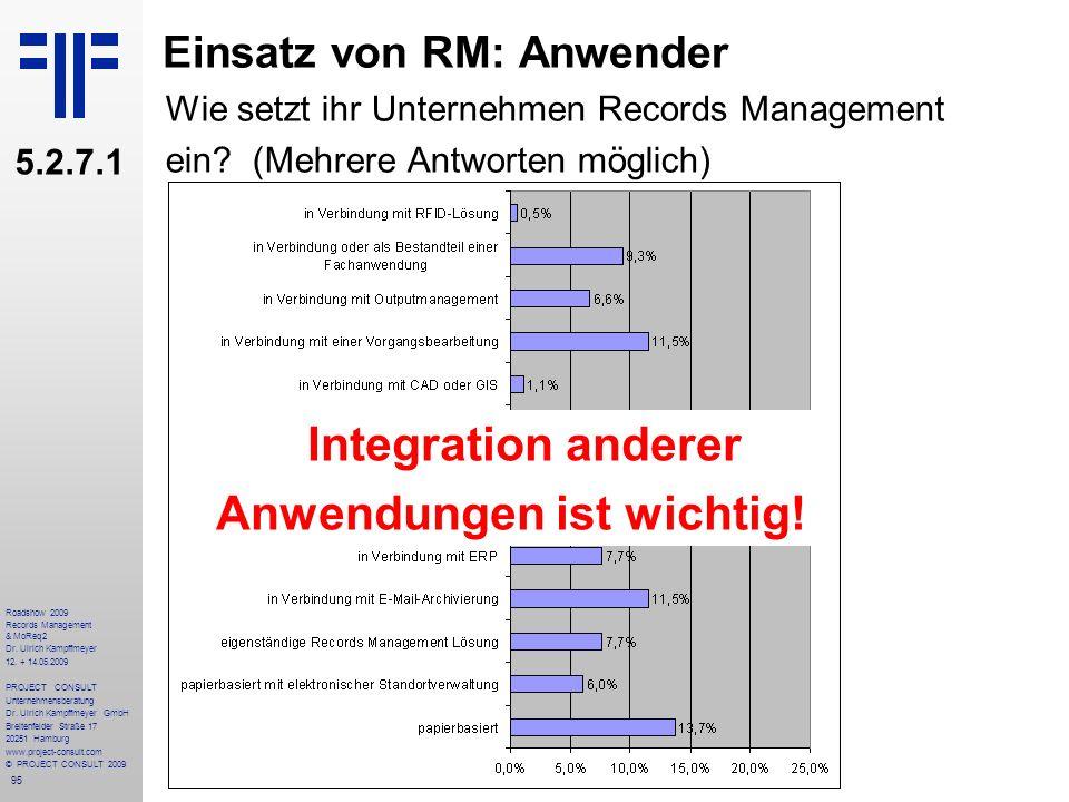 95 Roadshow 2009 Records Management & MoReq2 Dr. Ulrich Kampffmeyer 12. + 14.05.2009 PROJECT CONSULT Unternehmensberatung Dr. Ulrich Kampffmeyer GmbH
