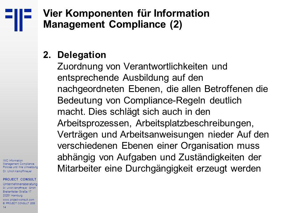 14 IMC Information Management Compliance Policies und ihre Umsetzung Dr. Ulrich Kampffmeyer PROJECT CONSULT Unternehmensberatung Dr. Ulrich Kampffmeye