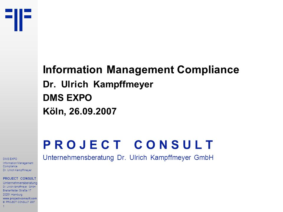 72 DMS EXPO Information Management Compliance Dr.