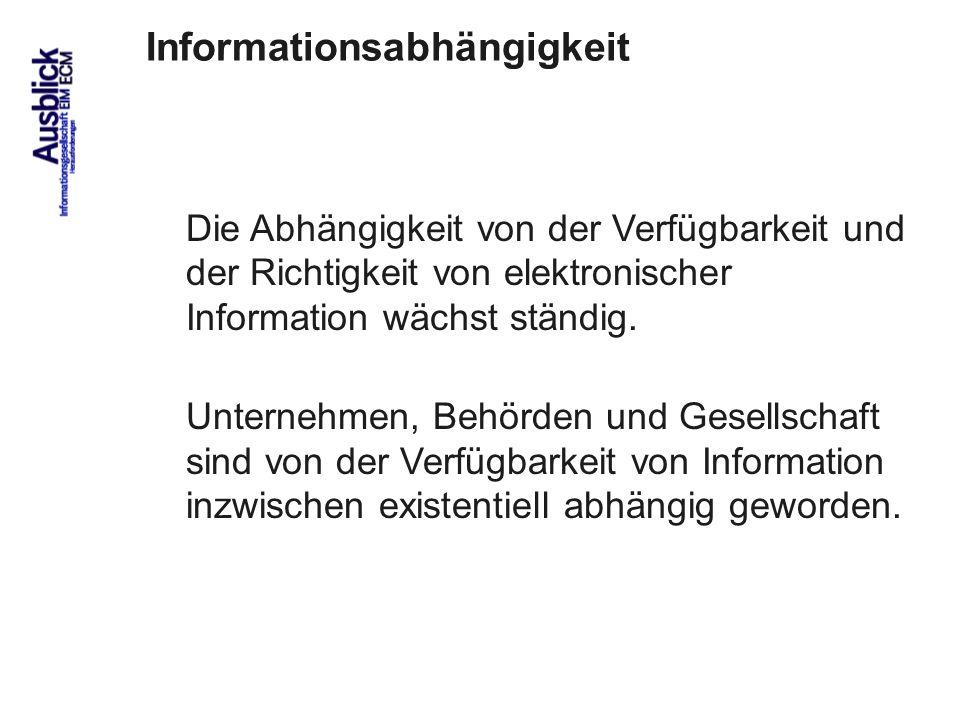 101 Die Abhängigkeit von elektronischer Information wird unterschätzt.
