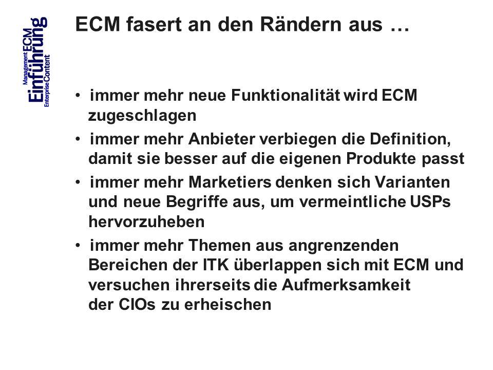 11 ECM fasert an den Rändern aus … immer mehr neue Funktionalität wird ECM zugeschlagen immer mehr Anbieter verbiegen die Definition, damit sie besser