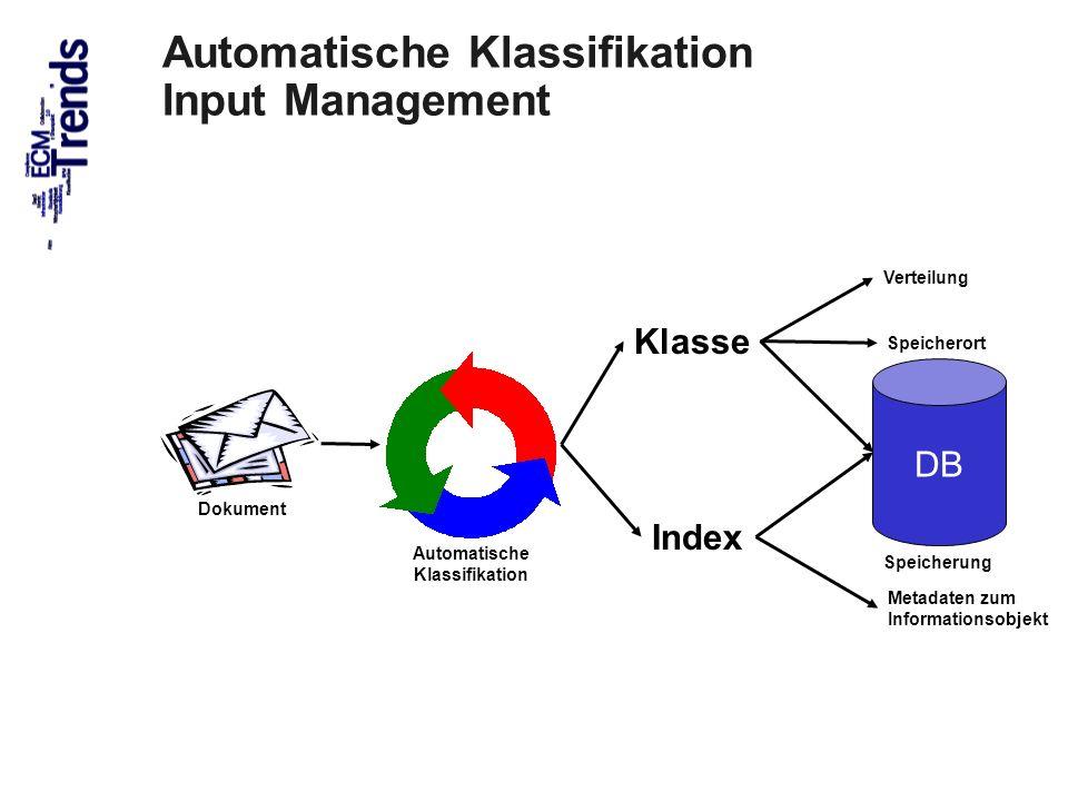 23 Index Klasse DB Dokument Automatische Klassifikation Speicherung Metadaten zum Informationsobjekt Speicherort Verteilung Automatische Klassifikatio