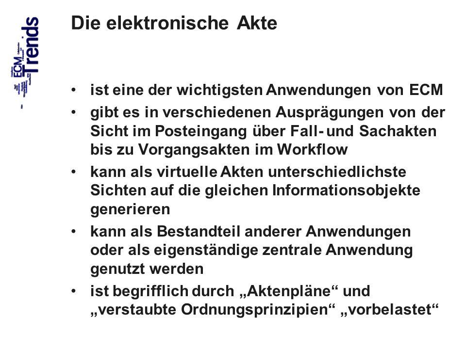 31 Die elektronische Akte ist eine der wichtigsten Anwendungen von ECM gibt es in verschiedenen Ausprägungen von der Sicht im Posteingang über Fall- u