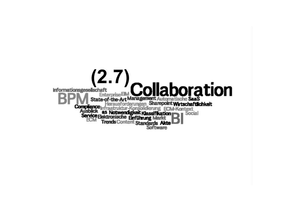40 Collaboration & Business Process Management sind die Motoren für die Weiterentwicklung von ECM nutzen immer mehr Web 2.0 Technologien, die die Grenzen herkömmlichen ECMs sprengen nutzen klassische ECM-Funktionen als nachgeordneten Dienste überholen als eigenständige Marktsegmente den traditionellen ECM-Markt