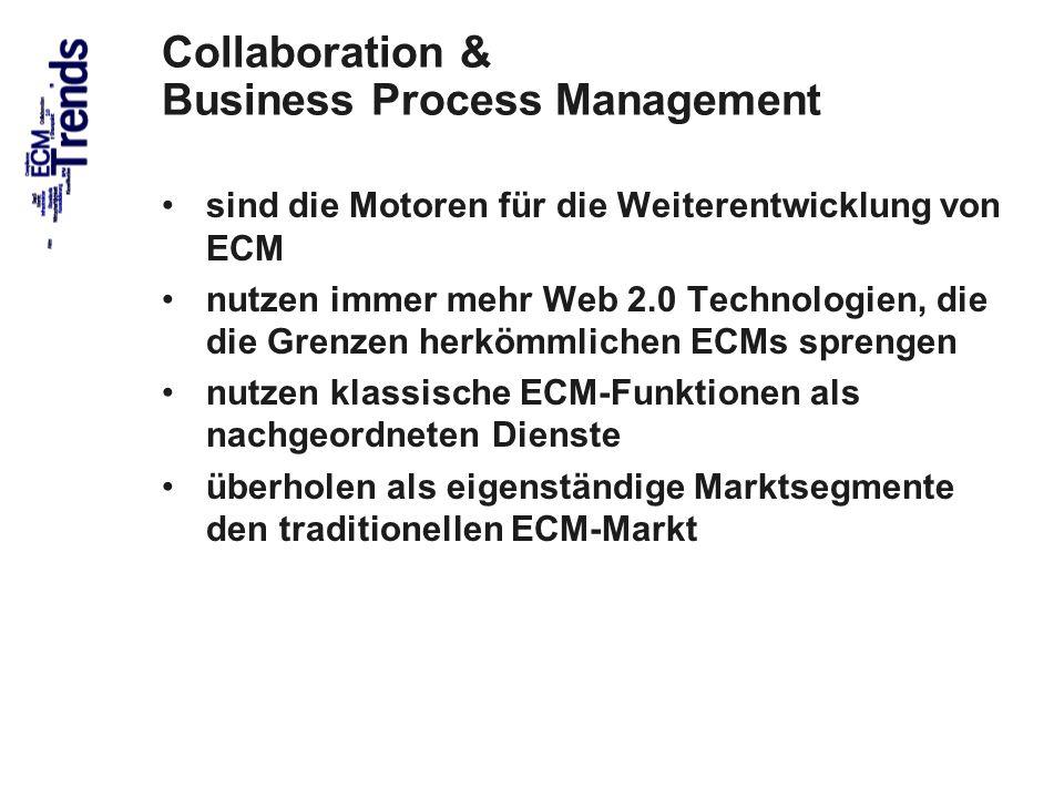 40 Collaboration & Business Process Management sind die Motoren für die Weiterentwicklung von ECM nutzen immer mehr Web 2.0 Technologien, die die Gren