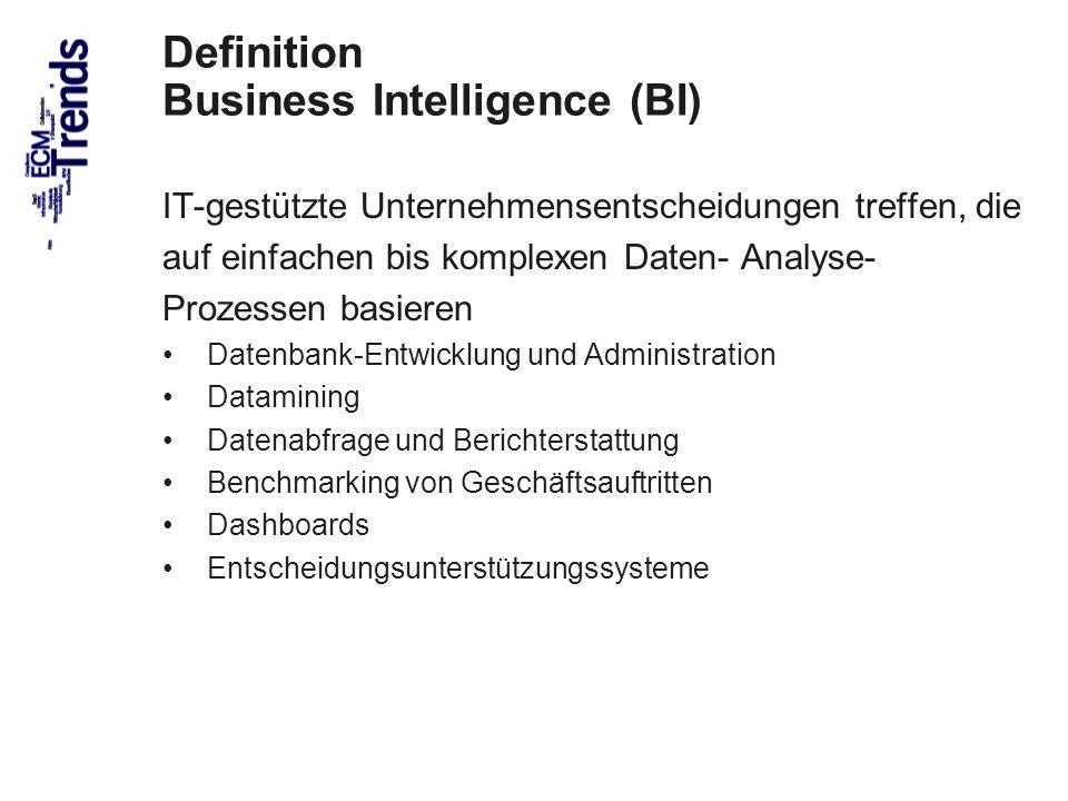 47 Definition Business Intelligence (BI) IT-gestützte Unternehmensentscheidungen treffen, die auf einfachen bis komplexen Daten- Analyse- Prozessen basieren Datenbank-Entwicklung und Administration Datamining Datenabfrage und Berichterstattung Benchmarking von Geschäftsauftritten Dashboards Entscheidungsunterstützungssysteme ECM Trends 2010 COI GmbH Dr.