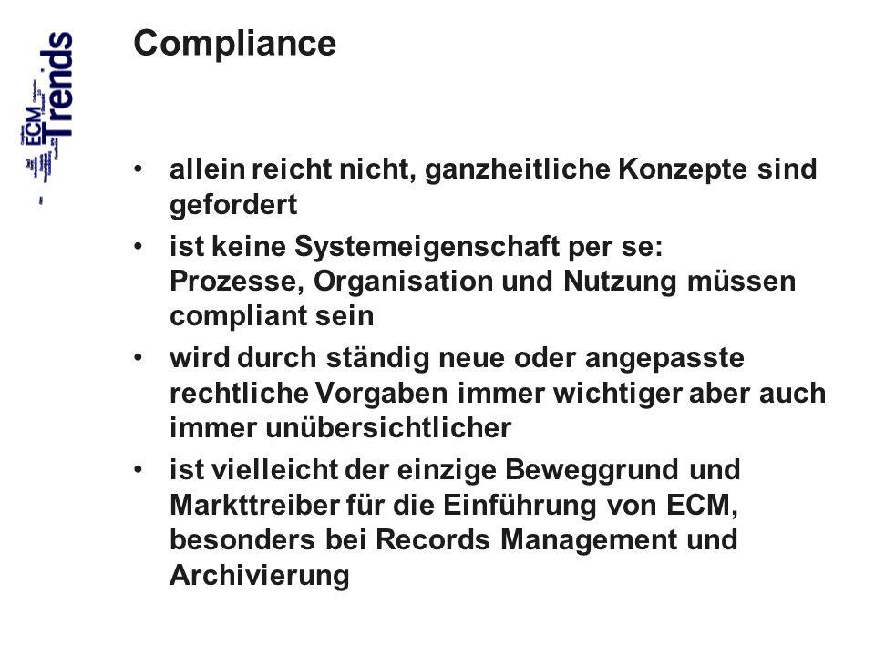 49 Compliance allein reicht nicht, ganzheitliche Konzepte sind gefordert ist keine Systemeigenschaft per se: Prozesse, Organisation und Nutzung müssen compliant sein wird durch ständig neue oder angepasste rechtliche Vorgaben immer wichtiger aber auch immer unübersichtlicher ist vielleicht der einzige Beweggrund und Markttreiber für die Einführung von ECM, besonders bei Records Management und Archivierung