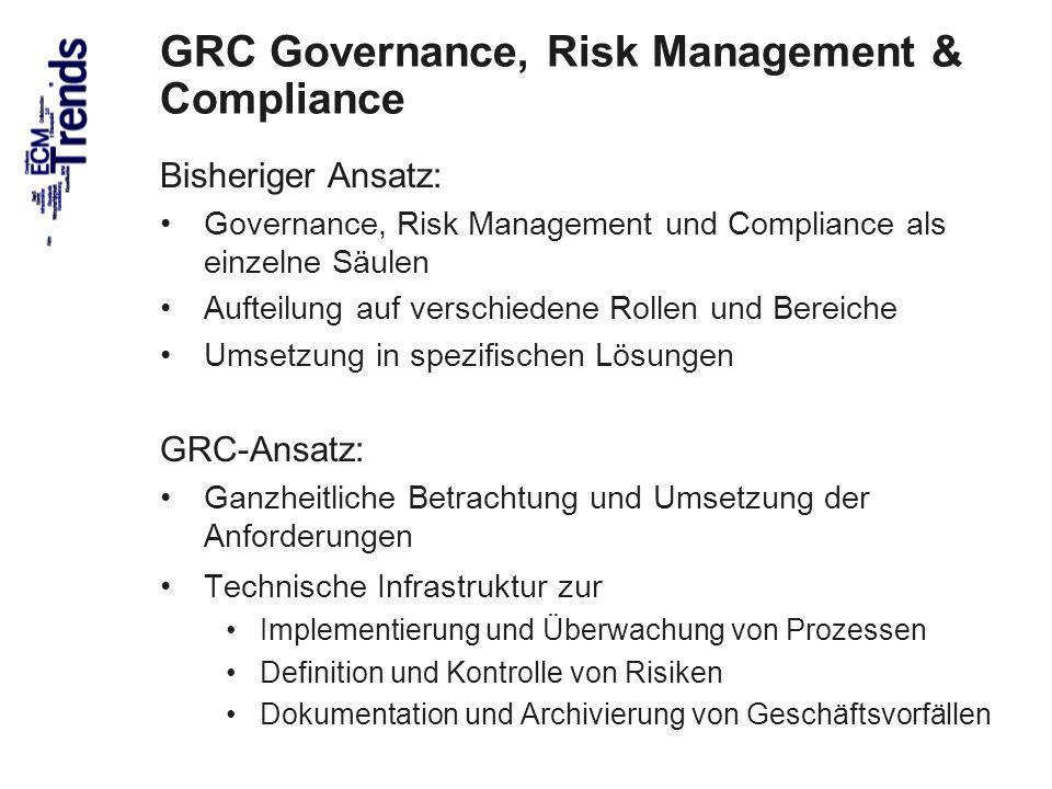 50 GRC Governance, Risk Management & Compliance Bisheriger Ansatz: Governance, Risk Management und Compliance als einzelne Säulen Aufteilung auf versc
