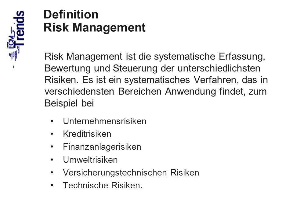 53 Definition Risk Management Risk Management ist die systematische Erfassung, Bewertung und Steuerung der unterschiedlichsten Risiken.