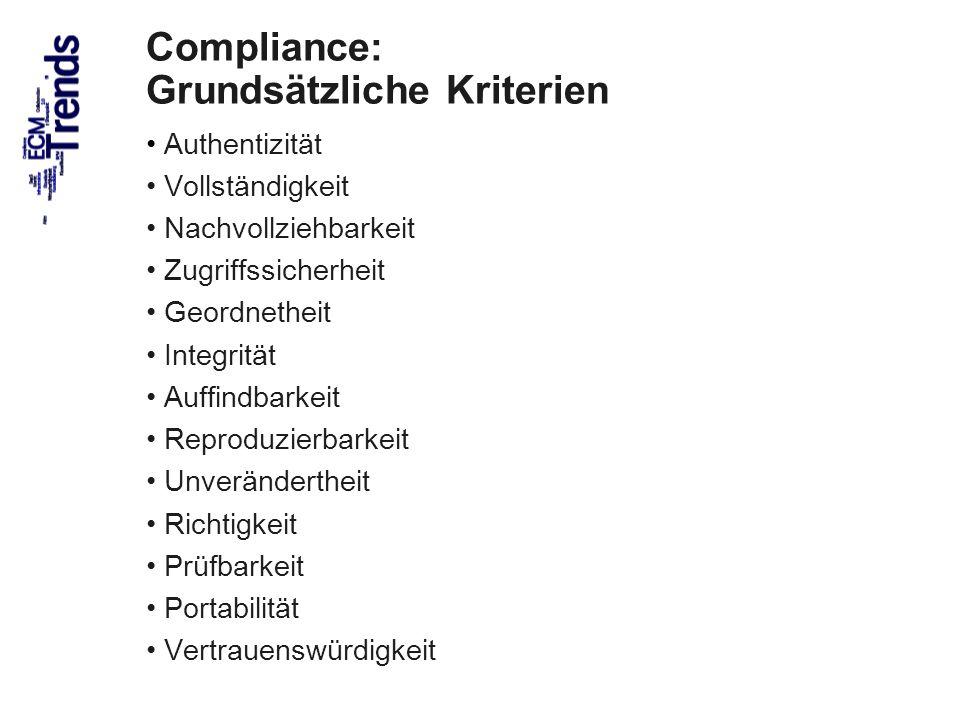 55 Compliance: Grundsätzliche Kriterien Authentizität Vollständigkeit Nachvollziehbarkeit Zugriffssicherheit Geordnetheit Integrität Auffindbarkeit Re