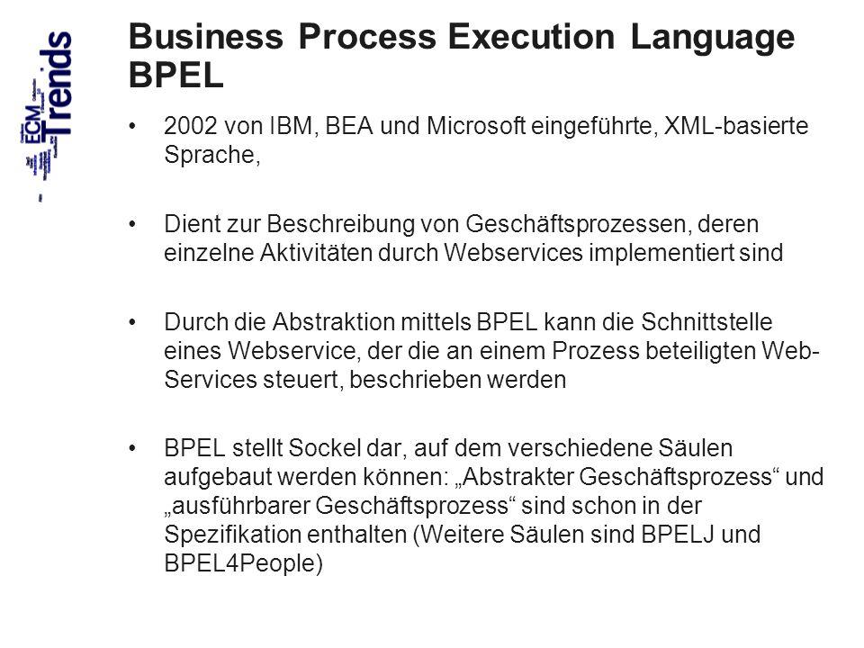 58 2002 von IBM, BEA und Microsoft eingeführte, XML-basierte Sprache, Dient zur Beschreibung von Geschäftsprozessen, deren einzelne Aktivitäten durch Webservices implementiert sind Durch die Abstraktion mittels BPEL kann die Schnittstelle eines Webservice, der die an einem Prozess beteiligten Web- Services steuert, beschrieben werden BPEL stellt Sockel dar, auf dem verschiedene Säulen aufgebaut werden können: Abstrakter Geschäftsprozess und ausführbarer Geschäftsprozess sind schon in der Spezifikation enthalten (Weitere Säulen sind BPELJ und BPEL4People) Business Process Execution Language BPEL © PROJECT CONSULT 2002
