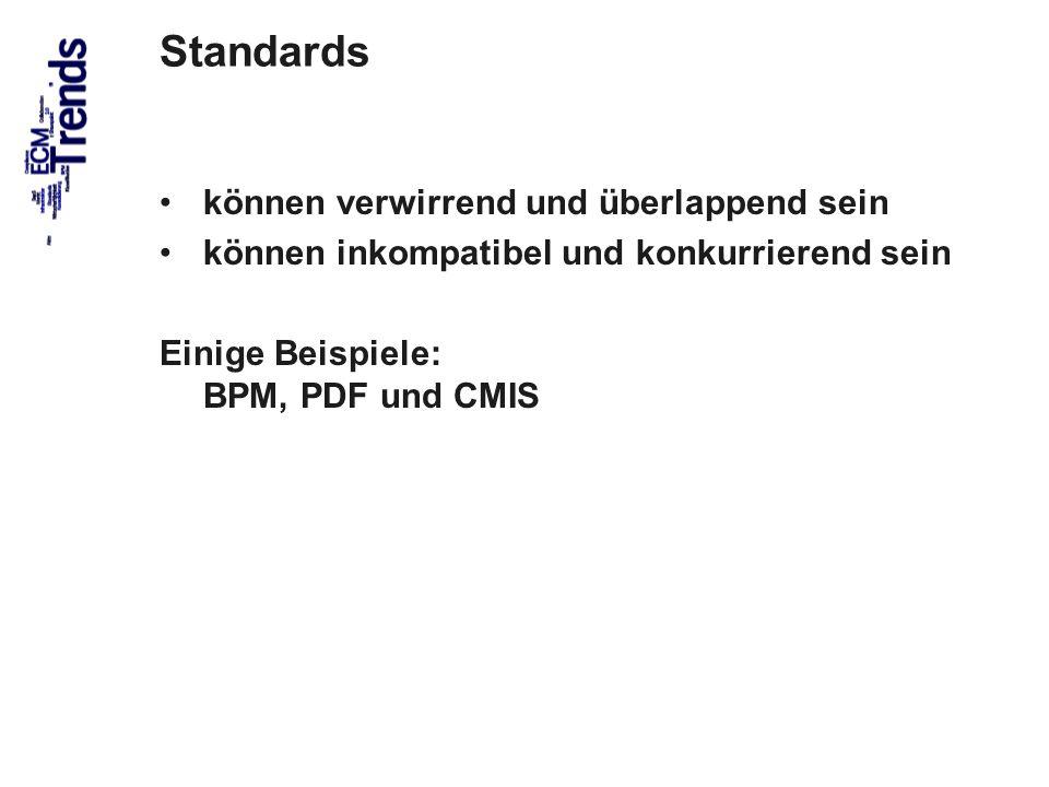 59 Standards können verwirrend und überlappend sein können inkompatibel und konkurrierend sein Einige Beispiele: BPM, PDF und CMIS