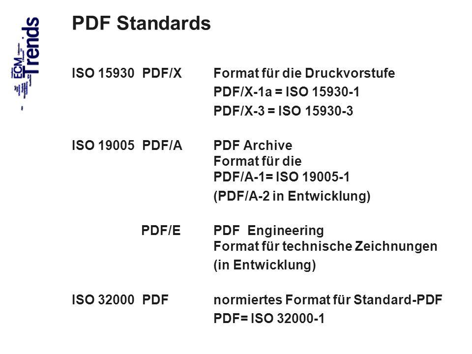 61 PDF Standards ISO 15930 PDF/X Format für die Druckvorstufe PDF/X-1a = ISO 15930-1 PDF/X-3 = ISO 15930-3 ISO 19005 PDF/A PDF Archive Format für die PDF/A-1= ISO 19005-1 (PDF/A-2 in Entwicklung) PDF/E PDF Engineering Format für technische Zeichnungen (in Entwicklung) ISO 32000 PDFnormiertes Format für Standard-PDF PDF= ISO 32000-1