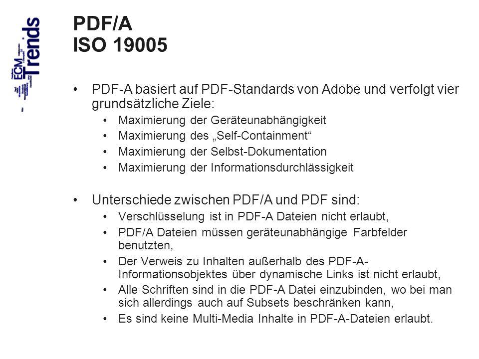 63 PDF/A ISO 19005 PDF-A basiert auf PDF-Standards von Adobe und verfolgt vier grundsätzliche Ziele: Maximierung der Geräteunabhängigkeit Maximierung des Self-Containment Maximierung der Selbst-Dokumentation Maximierung der Informationsdurchlässigkeit Unterschiede zwischen PDF/A und PDF sind: Verschlüsselung ist in PDF-A Dateien nicht erlaubt, PDF/A Dateien müssen geräteunabhängige Farbfelder benutzten, Der Verweis zu Inhalten außerhalb des PDF-A- Informationsobjektes über dynamische Links ist nicht erlaubt, Alle Schriften sind in die PDF-A Datei einzubinden, wo bei man sich allerdings auch auf Subsets beschränken kann, Es sind keine Multi-Media Inhalte in PDF-A-Dateien erlaubt.