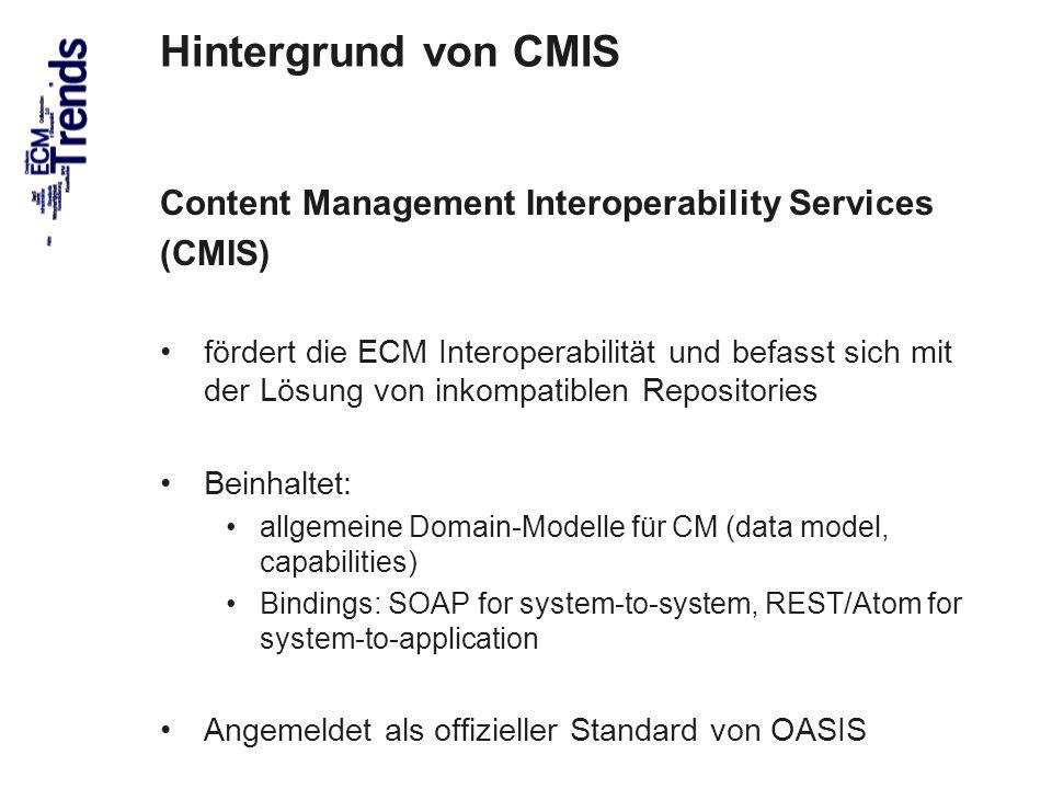 67 Hintergrund von CMIS Content Management Interoperability Services (CMIS) fördert die ECM Interoperabilität und befasst sich mit der Lösung von inko