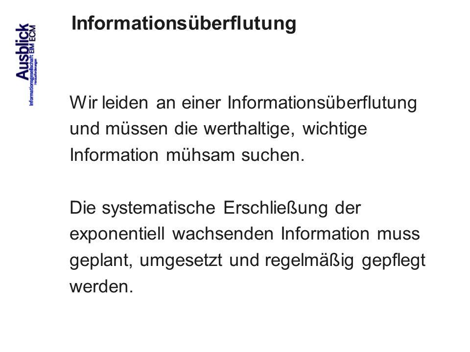 95 Wir leiden an einer Informationsüberflutung und müssen die werthaltige, wichtige Information mühsam suchen.