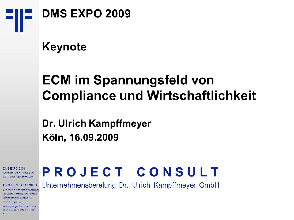 2 DMS EXPO 2009 Keynote Angst und Gier Dr.