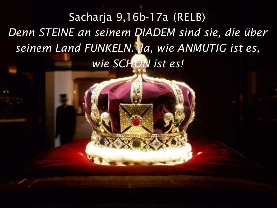 Sacharja 9,16b-17a (RELB) Denn STEINE an seinem DIADEM sind sie, die über seinem Land FUNKELN.