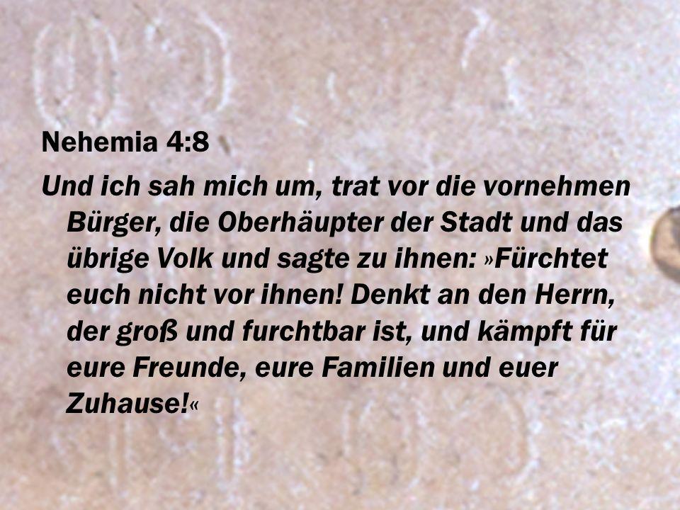 Nehemia 4:8 Und ich sah mich um, trat vor die vornehmen Bürger, die Oberhäupter der Stadt und das übrige Volk und sagte zu ihnen: »Fürchtet euch nicht