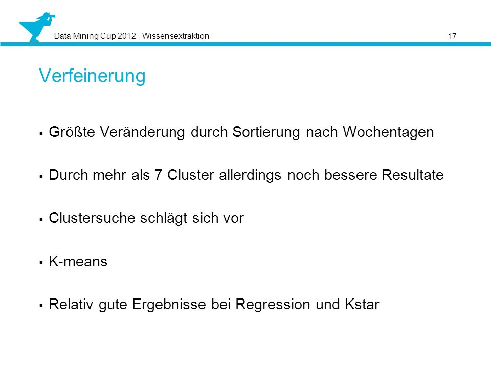 Data Mining Cup 2012 - Wissensextraktion Größte Veränderung durch Sortierung nach Wochentagen Durch mehr als 7 Cluster allerdings noch bessere Resultate Clustersuche schlägt sich vor K-means Relativ gute Ergebnisse bei Regression und Kstar 17 Verfeinerung