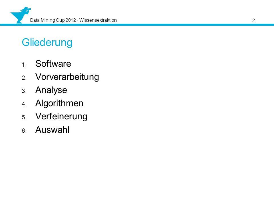 Data Mining Cup 2012 - Wissensextraktion 2 Gliederung Software Vorverarbeitung Analyse Algorithmen Verfeinerung Auswahl