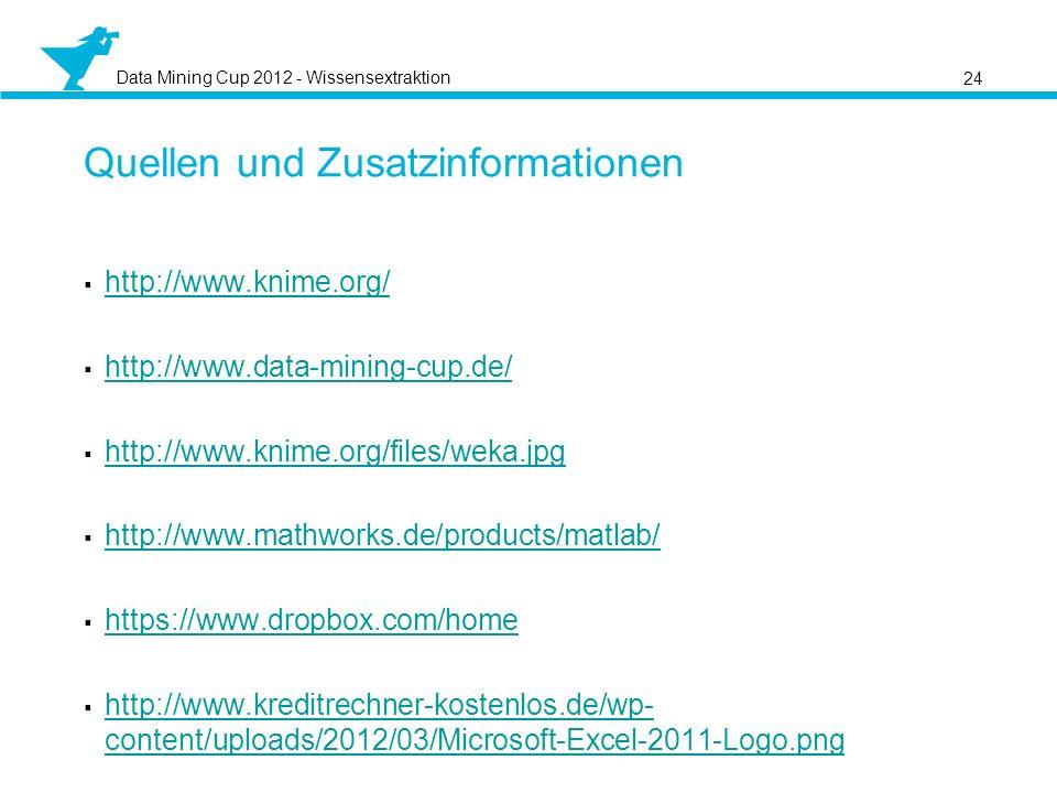 Data Mining Cup 2012 - Wissensextraktion Quellen und Zusatzinformationen http://www.knime.org/ http://www.data-mining-cup.de/ http://www.knime.org/files/weka.jpg http://www.mathworks.de/products/matlab/ https://www.dropbox.com/home http://www.kreditrechner-kostenlos.de/wp- content/uploads/2012/03/Microsoft-Excel-2011-Logo.png http://www.kreditrechner-kostenlos.de/wp- content/uploads/2012/03/Microsoft-Excel-2011-Logo.png 24