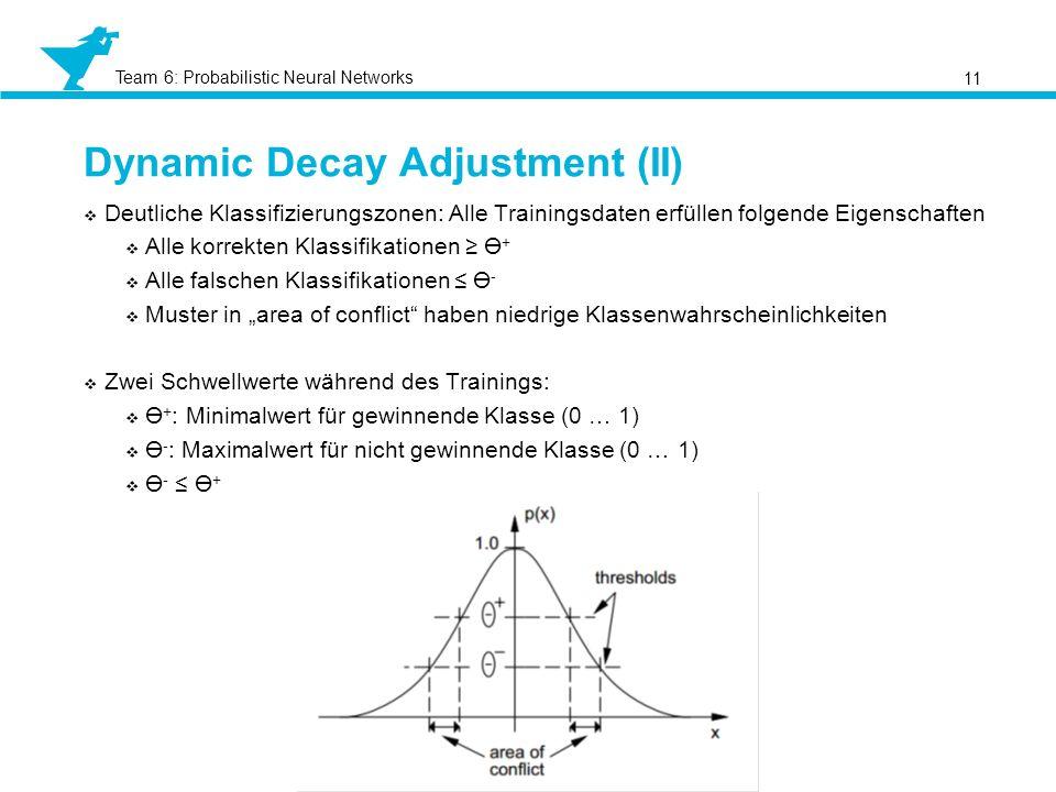 Team 6: Probabilistic Neural Networks Dynamic Decay Adjustment (II) 11 Deutliche Klassifizierungszonen: Alle Trainingsdaten erfüllen folgende Eigensch