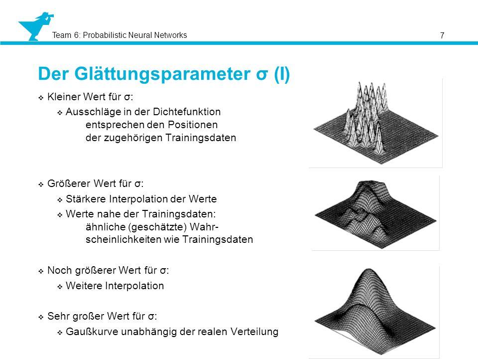 Team 6: Probabilistic Neural Networks Der Glättungsparameter σ (I) 7 Kleiner Wert für σ: Ausschläge in der Dichtefunktion entsprechen den Positionen d