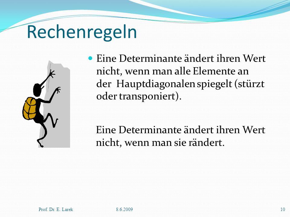 Rechenregeln Eine Determinante ändert ihren Wert nicht, wenn man alle Elemente an der Hauptdiagonalen spiegelt (stürzt oder transponiert). Prof. Dr. E