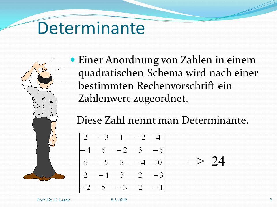 Determinante Einer Anordnung von Zahlen in einem quadratischen Schema wird nach einer bestimmten Rechenvorschrift ein Zahlenwert zugeordnet. Prof. Dr.