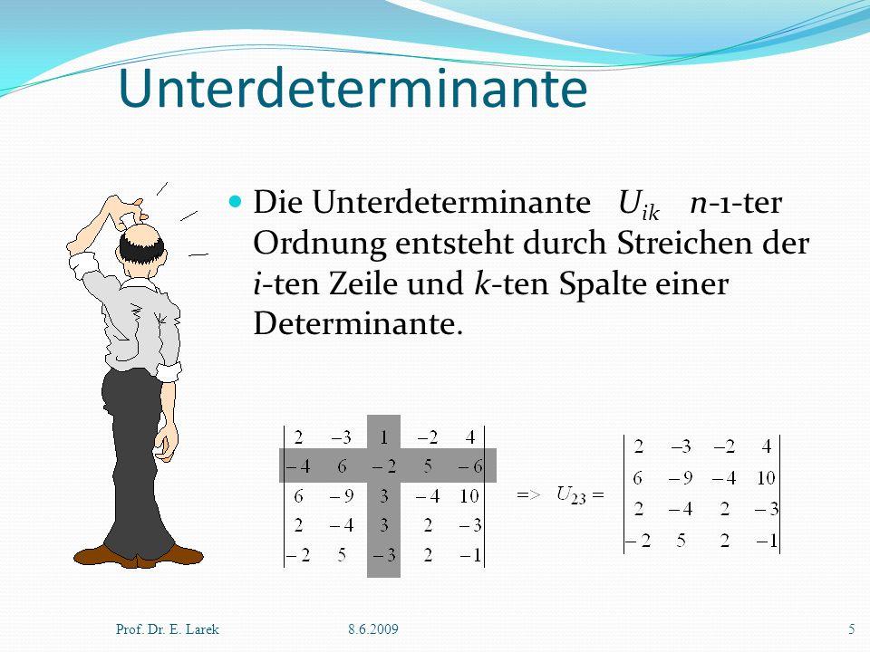 Unterdeterminante Die Unterdeterminante U ik n-1-ter Ordnung entsteht durch Streichen der i-ten Zeile und k-ten Spalte einer Determinante. Prof. Dr. E