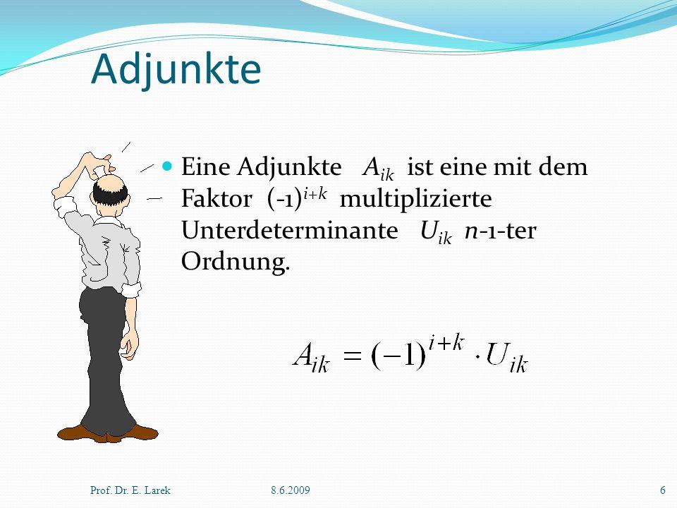 Adjunkte Eine Adjunkte A ik ist eine mit dem Faktor (-1) i+k multiplizierte Unterdeterminante U ik n-1-ter Ordnung. Prof. Dr. E. Larek8.6.20096