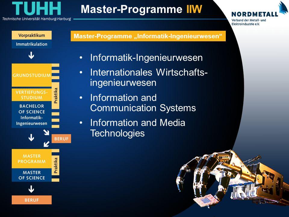Master: Informatik-Ingenieurwesen (1) Informatik-Ingenieurwesen Internationales Wirtschafts- ingenieurwesen Information and Communication Systems Information and Media Technologies Master-Programme Informatik-Ingenieurwesen Master-Programme IIW